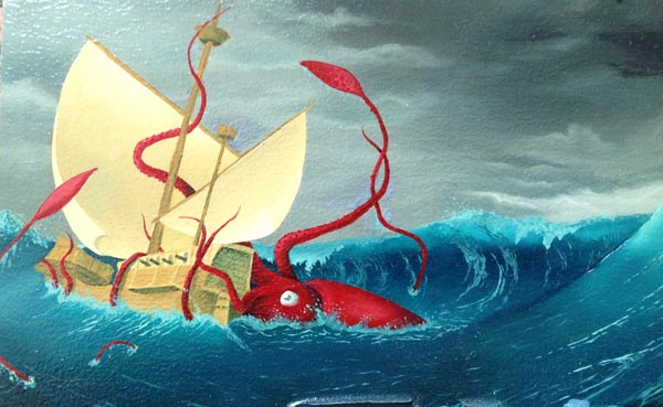 A giant squid taking down a ship
